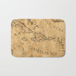Old Nautical Map Carribeans Bath Mat