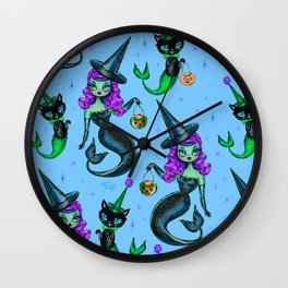 Mermaid Witch with Merkitten Wall Clock