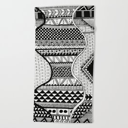 Wavy Geometric Patterns Beach Towel
