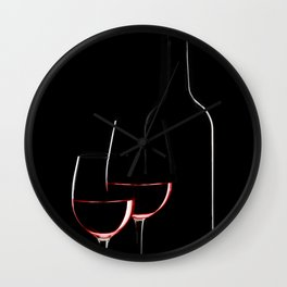 Red wine bottle and two wine glasses on black background on black background Wall Clock