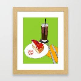 Strawberry Cake Break Framed Art Print