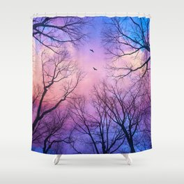 A New Day Will Dawn  (Day Tree Silhouettes) Shower Curtain
