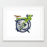 brompton Framed Art Prints featuring Brompton Folded green painting by Diana Powell