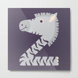 Letter Z // Animal Alphabet // Zebra Monogram Metal Print