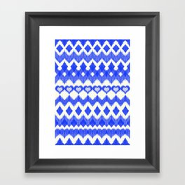 Ikat Pattern in Cobalt Blue & White Framed Art Print