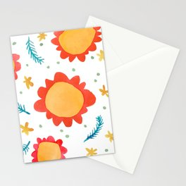 Painted Flowers orange Stationery Cards