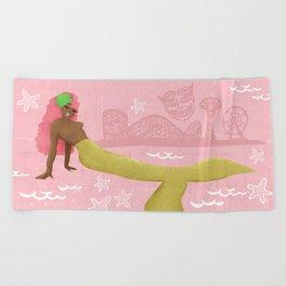 Coney Island Pinup Mermaid - Pink Beach Towel