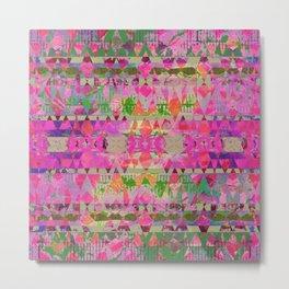 Pink Aztec Grunge Metal Print