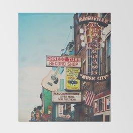 Lower Broadway, Nashville print  Throw Blanket