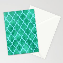 Classic Quatrefoil Lattice Pattern 909 Mint Green and Blue Stationery Cards