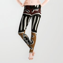 African mud cloth with elephants Leggings