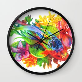 Rainbow Koi Wall Clock