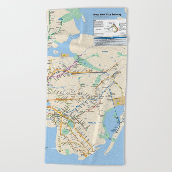 New York City Metro Subway Map Beach Towel By Greatphotos234 Society6