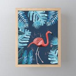 Flamingo with tropical foliage and an indigo background Framed Mini Art Print