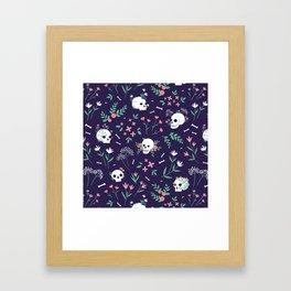 Skull Floral Framed Art Print