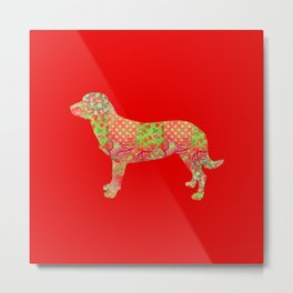 Alpine Dachsbracke Dog Vintage Floral Pattern Red Green Country Rustic Metal Print