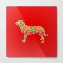Alpine Dachsbracke Dog Vintage Floral Pattern Red Green Country Rustic Metal Print