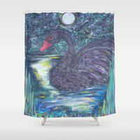 black swan Shower Curtains featuring Black Swan by Amber Rose Stahl