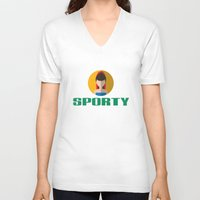 spice girls V-neck T-shirts featuring SPORTY SPICE by Chilli Cactus