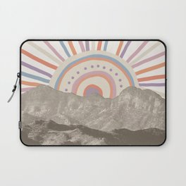 Bohemian Tribal Sun UP / Abstract Vintage Mountain Happy Summer Vibes Retro Colorful Pastel Artwork Laptop Sleeve