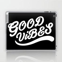 Good Vibes Happy Uplifting Design Black And White Laptop & iPad Skin