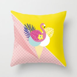 Pink Flamingo Summer Ice cream scoops #summervibes Throw Pillow