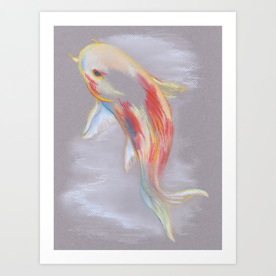 Koi Fish Swimming Art Print