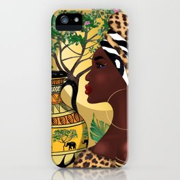 African woman,vase ,fashion art ,golden colour background ,round  earrings. iPhone Case