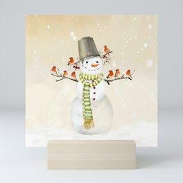 Snowman and Birds Mini Art Print