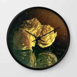 Yellow Vintage Roses Wall Clock