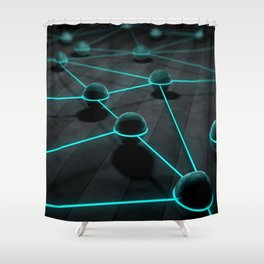 3D Teal Balls Shower Curtain