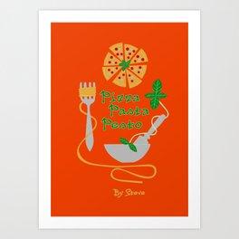Pizza, pasta, pesto Art Print