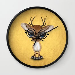 Cute Curious Nerdy Baby Deer Wearing Glasses on Yellow Wall Clock