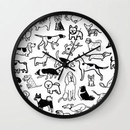 Black and White Dog Drawings | Cute Canines Pattern Wall Clock