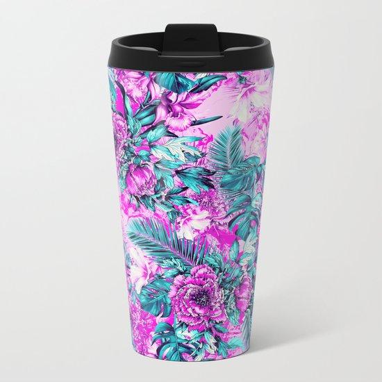 Tropical Garden Pink Metal Travel Mug