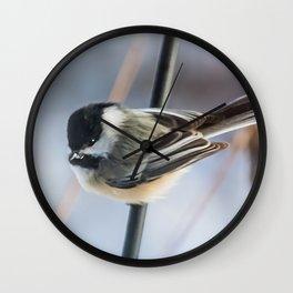 Chickadee waiting Wall Clock