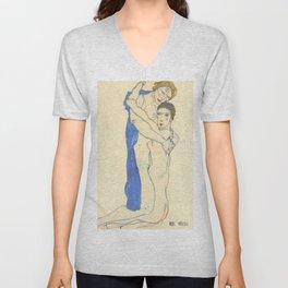 "Egon Schiele ""Freundin, Rosa-Blau ( Girlfriend, Pink-Blue)"" Unisex V-Neck"