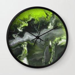 Lime Green Lightning Wall Clock