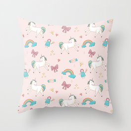 UNICORNS AND RAINBOWS Throw Pillow