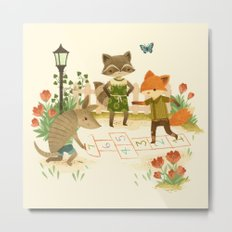 Hopscotch with Critters Metal Print