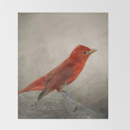 Song of the Summer Tanager 2 - Birds Throw Blanket