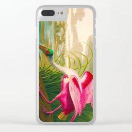 Roseate Spoonbill Bird pink Clear iPhone Case