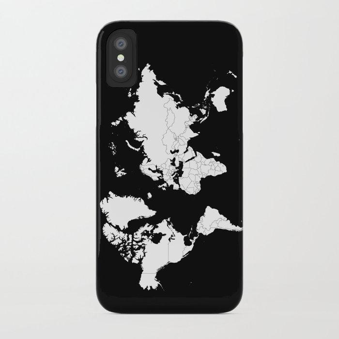 Minimalist world map white on black background iphone case by minimalist world map white on black background iphone case gumiabroncs Choice Image