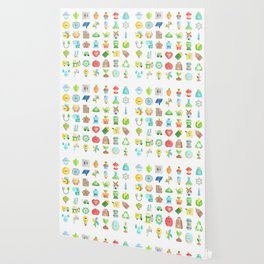 CUTE GREEN / ECO / RECYCLE PATTERN Wallpaper
