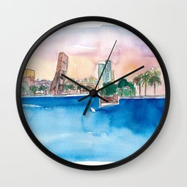 Fort Lauderdale Skyline Sunset In Florida Wall Clock