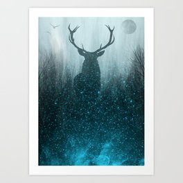 Snow Stag Silhouette Art Print
