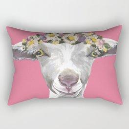 Pink Goat Art, Flower Crown Goat Rectangular Pillow