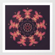 Purple and Orange Nature Mandala Art Print
