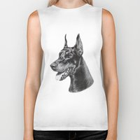 doberman Biker Tanks featuring Doberman by Danguole Serstinskaja