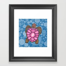 Bubblegum Pink Sea Turtle Framed Art Print